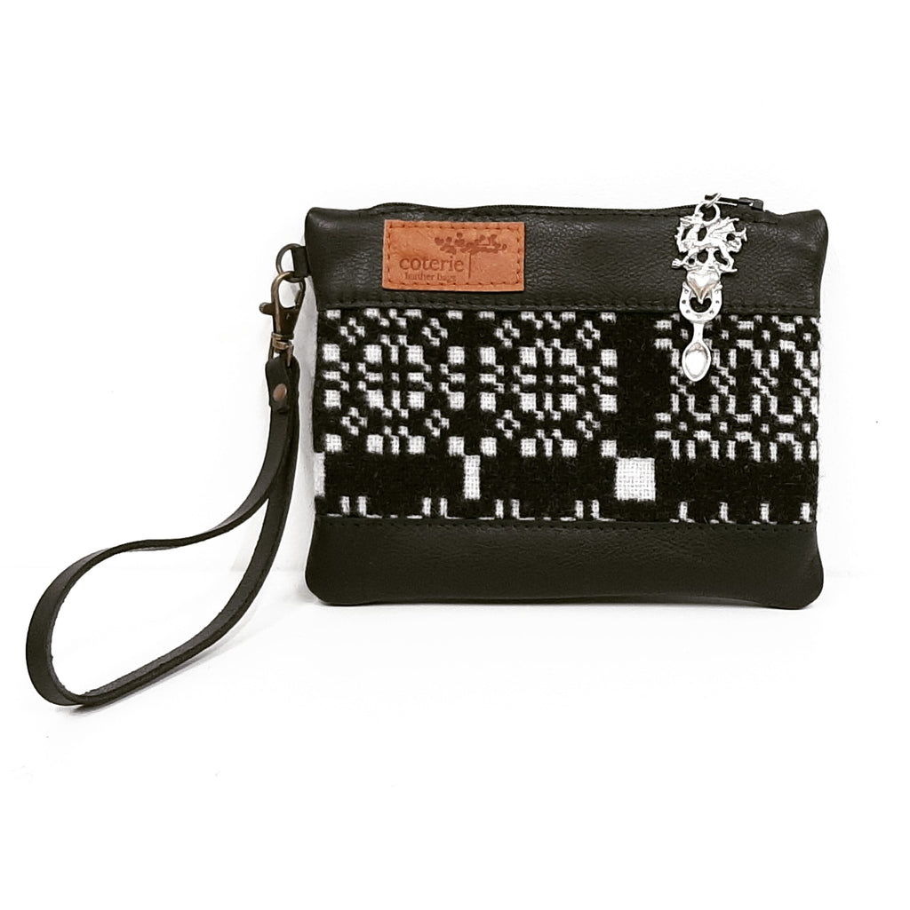 Leather & Welsh Wool Purse - Black