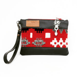Leather & Welsh Wool Purse - Black & Red