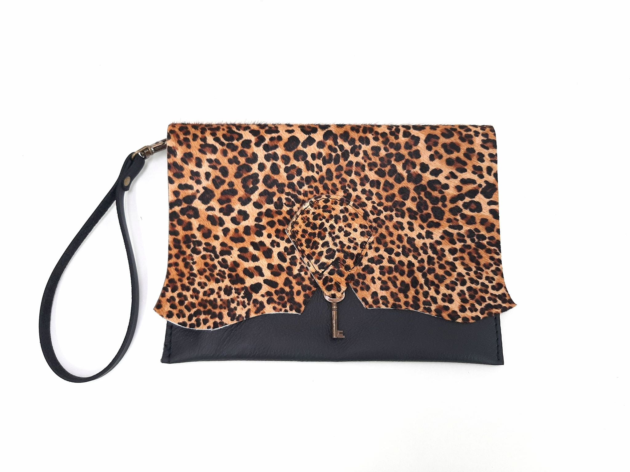 Raw Edge Leather Clutch Purse with Vintage Key Detail - Jaguar & Black - Coterie Leather Bags