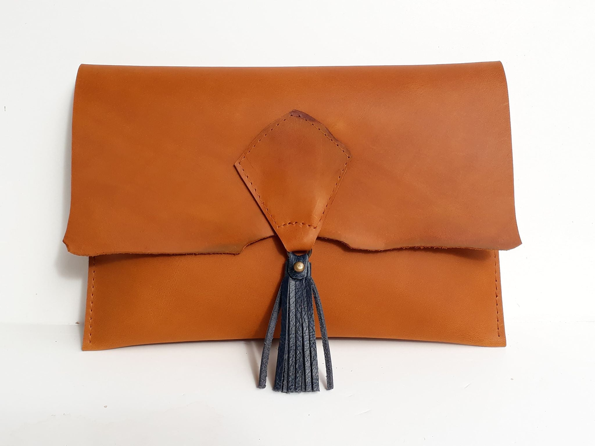 Tassel Clutch - Mustard - Coterie Leather Bags