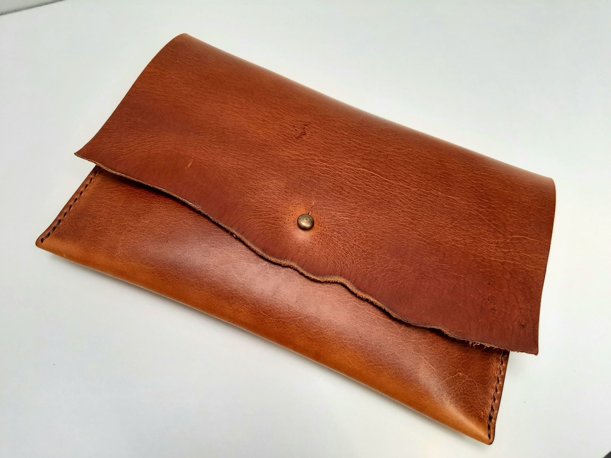 Raw Edge Clutch Purse - Tan - Coterie Leather Bags