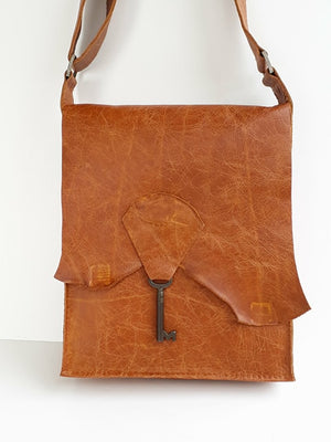 Custom Raw Edge Leather Bag with Vintage Key Detail - Tan & Gold Sparkle Cowhide - Coterie Leather Bags