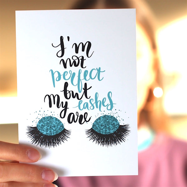 Spruchkarte I'm not perfect, but my lashes are' (25, 50, 100 Stück)