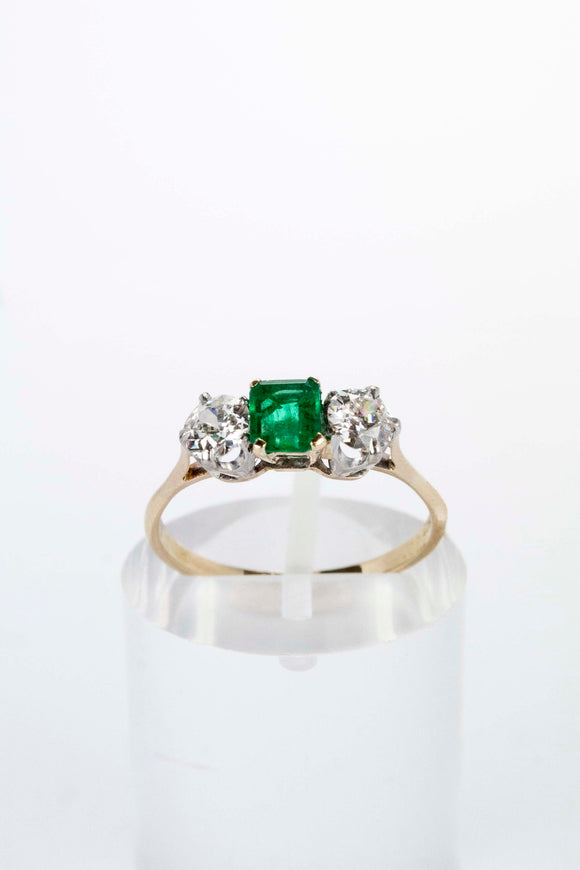 18ct Yellow Gold 0.66ct Diamond and Emerald Ring