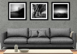 Exclusive set of 3 square black and white prints consisting of 'Rock Formation at Dunure', 'Old Men of the Carrick Hills' and 'Sundown on Loch Lomond'.