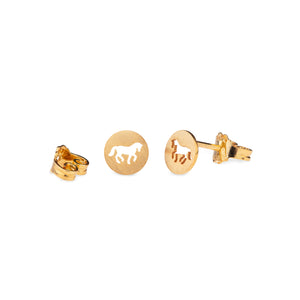 Cassidy Plate Horse Earrings Gold Plated Cut Matte