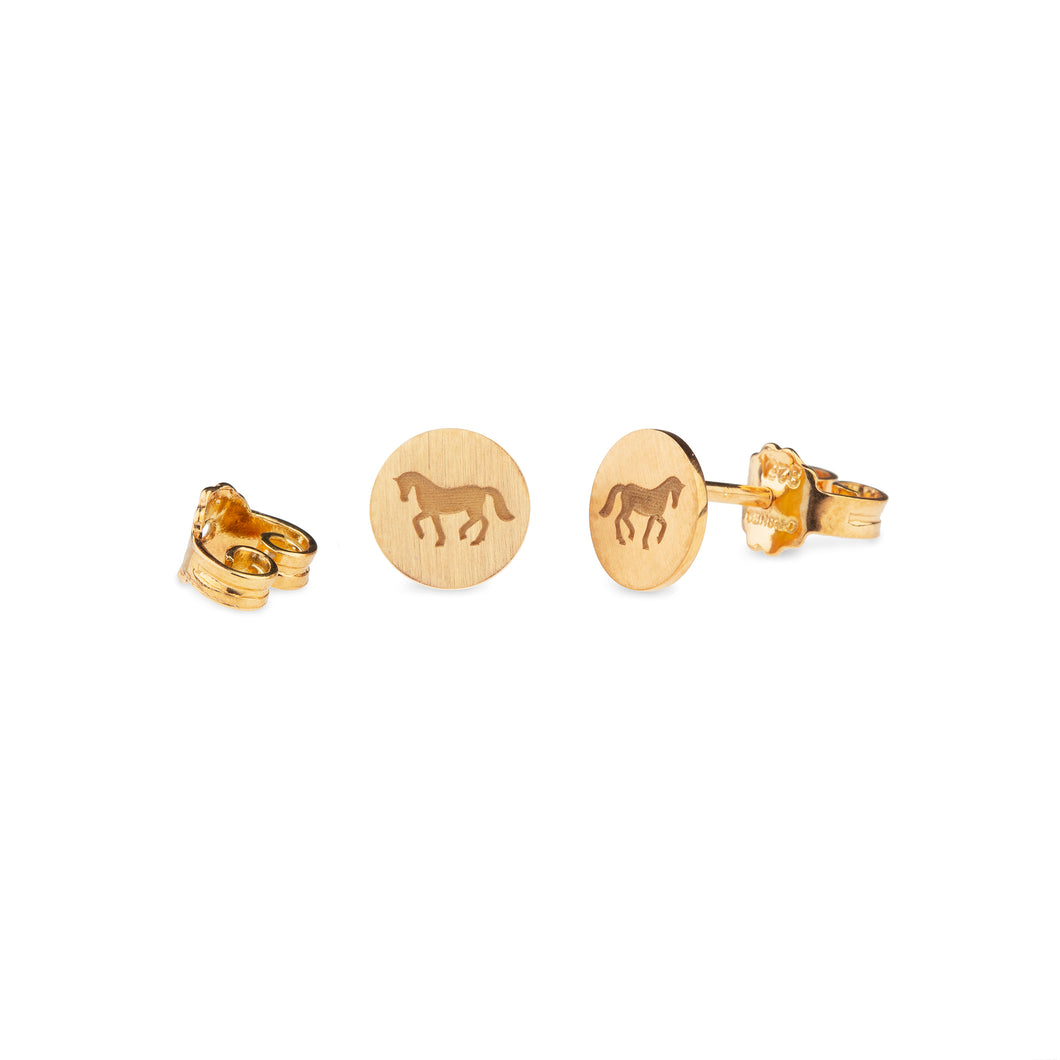 Cassidy Plate Horse Earrings Gold Plated Carved Matte