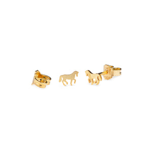 Cassidy Extra Small Horse Earrings Gold Plated Matte