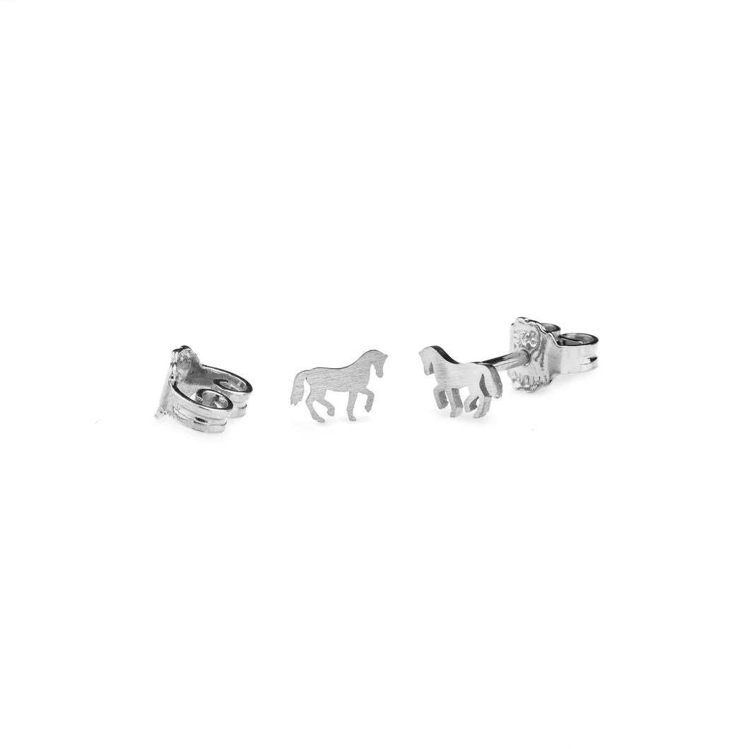 Cassidy Extra Small Horse Earrings Silver Matte