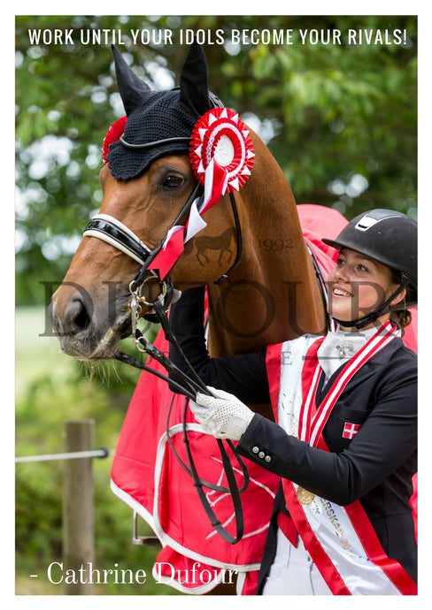 Atterupgaards Cassidy and Cathrine Dufour poster Danish Champion Dressur