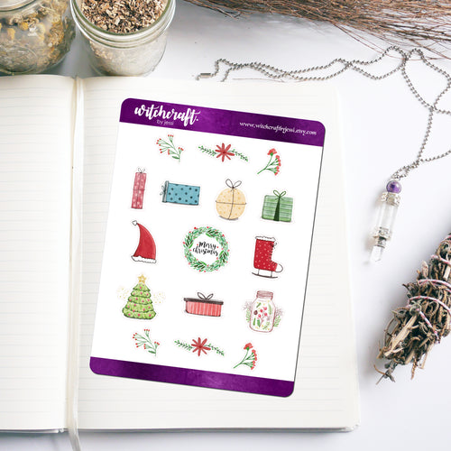 Christmas Watercolour Stickers