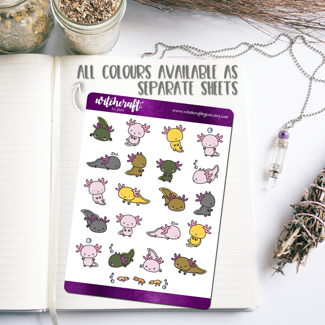 Cute Axolotl Stickers (Various Colours Available)