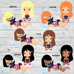 Reading Girl Stickers