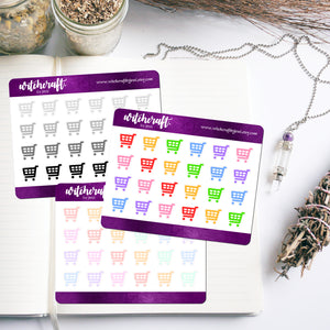 Shopping Trolley Icon Stickers (MINI SHEET)