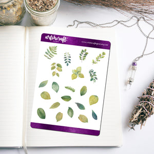 Watercolour Leaf & Branch Stickers