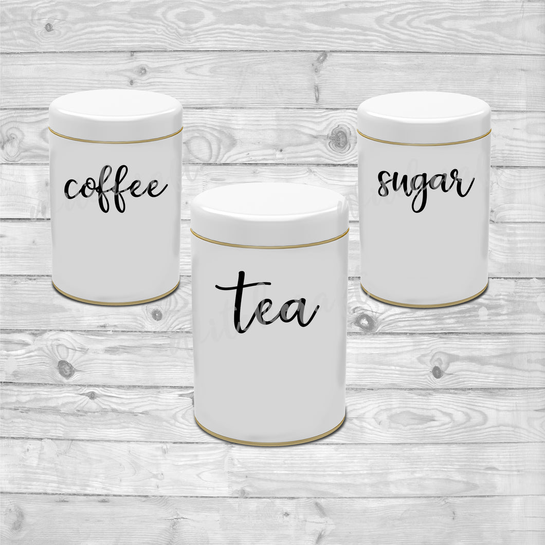 Kitchen Canister Labels (Tea, Coffee, Sugar, & Custom)