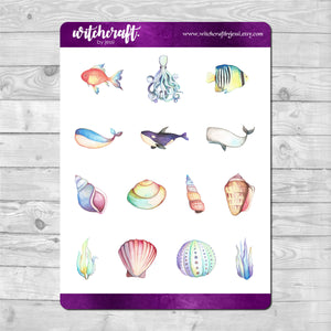 Watercolour Ocean Life Stickers