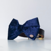 Navy blue velvet dog bow tie in large