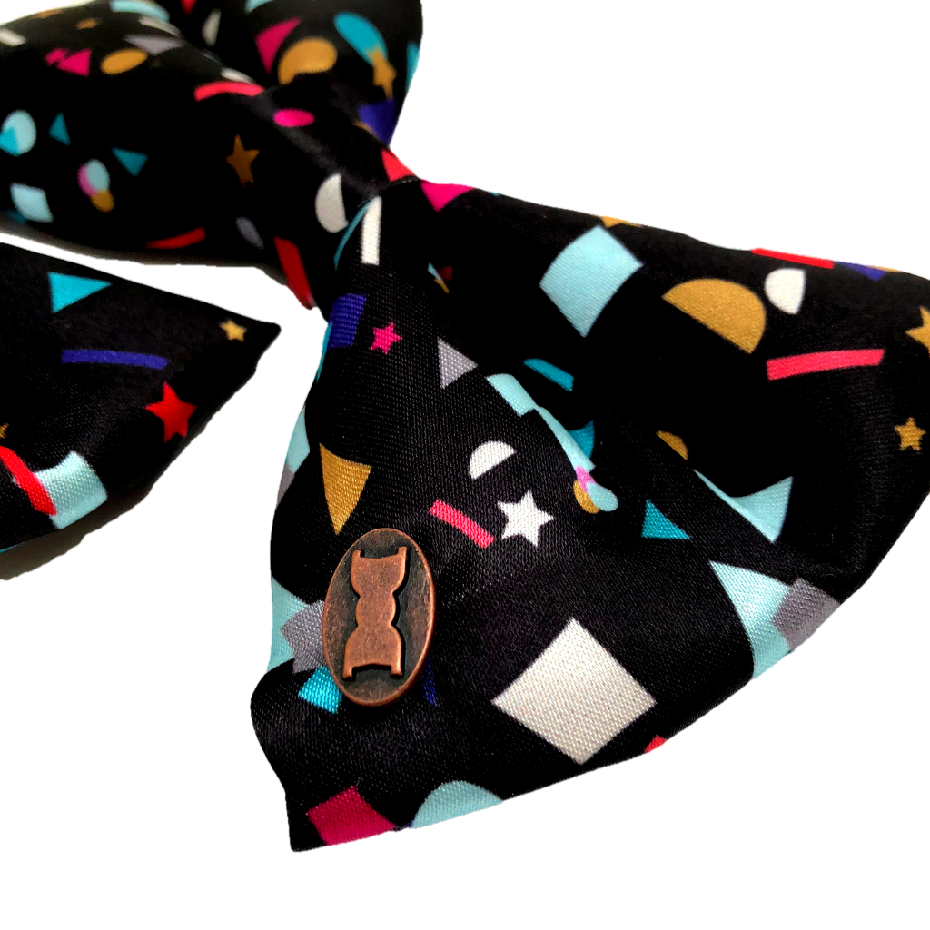Close up of confetti satin dog bow tie