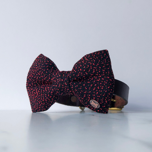Cosmic glitter red dog bow tie in large