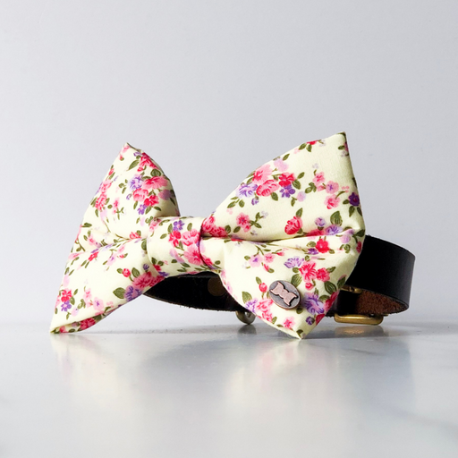 Fingle flower yellow floral dog bow tie in large