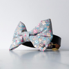 Grey floral dog bow tie in large