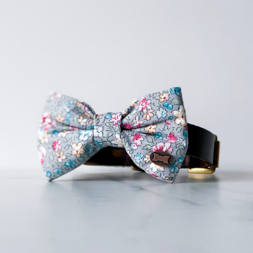 Grey floral dog bow tie in small