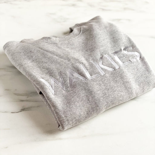 Embroidered WALKIES Grey on Grey Slogan Sweatshirt