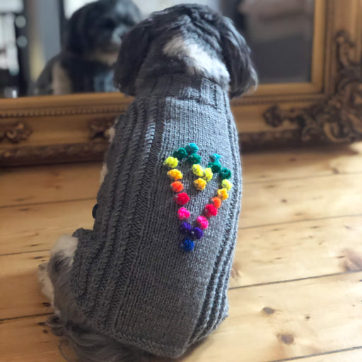 Rainbow Love Heart Knitted Sweater