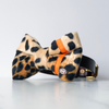 Neon orange and leopard dog bow tie in large