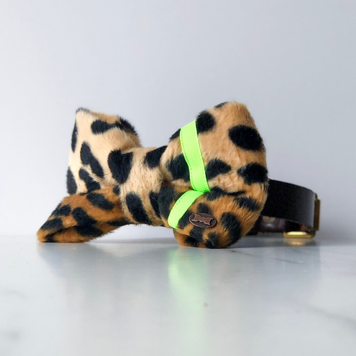 Neon yellow leopard bow tie in large
