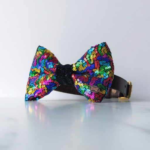 Rainbow Sequin Dog Bow Tie