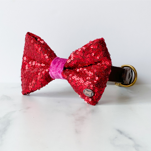 Bette Sequin Bow Tie - Red