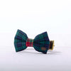 Blue and green tartan dog bow tie in small
