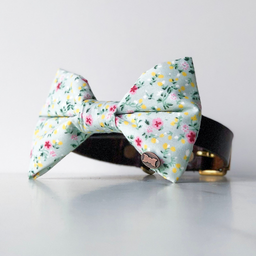 Green floral dog bow tie in large