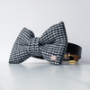 Black and white tweed dog bow tie in large