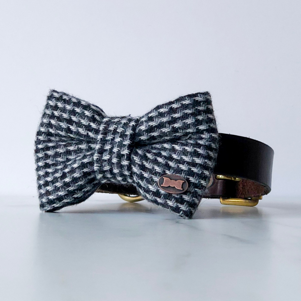 Black and white tweed dog bow tie in small