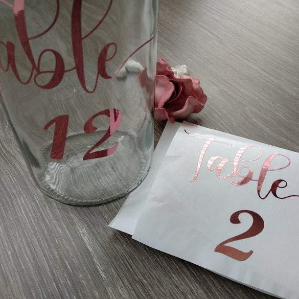 Metallic Foil Table Number decals for your wedding or party seating plan