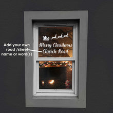 Load image into Gallery viewer, Merry Christmas Window Decal Sticker - Add Your Road or Street Name