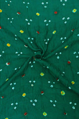 Dots in Dark Blueish Green Bandhani Cotton Fabric