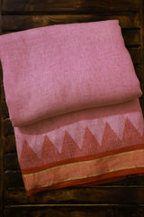 Pink with Red Triangle Linen Jamdani Saree