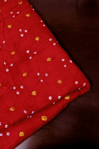 Red with White and Yellow Bandhani Cotton Fabric