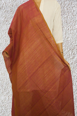 Purpleish Pink Missing Checks Handwoven Cotton Dupatta