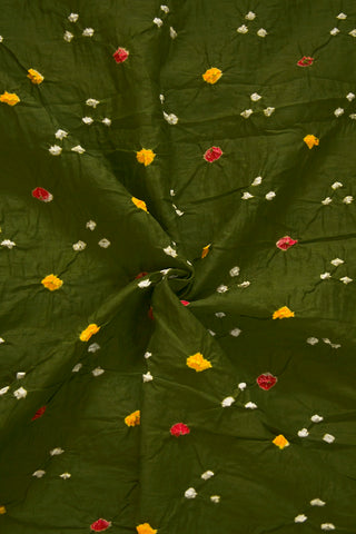 Subdued Green Bandhani Cambric Cotton Fabric