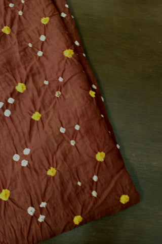 White and Orangish Yellow Dots in Brown Bandhani Fabric