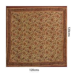 Beige with Maroon floral Block Printed Table Cloth