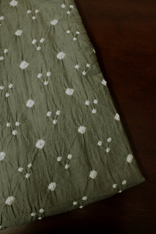 White Dots in Grey Bandhani Cotton Fabric