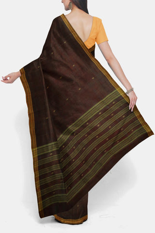 Double Shade Maroon Handspun Handwoven Cotton Saree