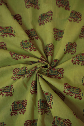 Light Green with Elephant Print Sanganeri Cotton Fabric