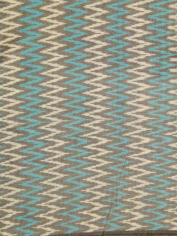 Blue with White Zig Zag Ikat Fabric - 2.4m
